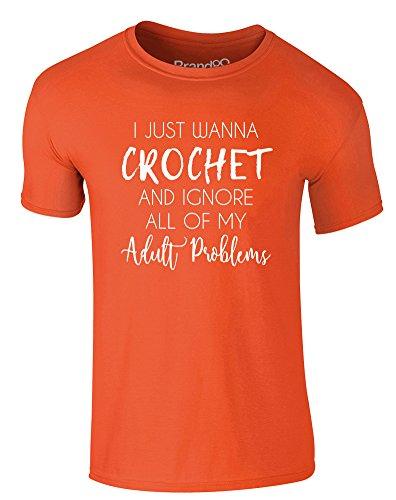 Brand88 - I Just Wanna Crochet, Erwachsene Gedrucktes T-Shirt Orange/Weiß