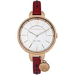 Fiorelli Women's Quartz Watch with White Dial Analogue Display and Red Leather Strap FO004RRG