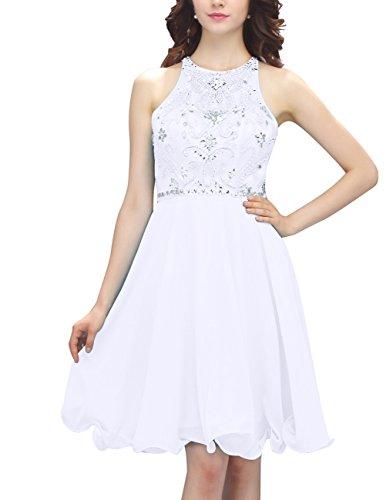 Dresstells Kurz Rückenfrei Chiffon Beading Cocktail Party-Kleider Weiß