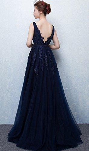 Eudolah Robe de soirée cérémonie courte col V avec ornement de fleurs style tutu demoiselle d'honneur Femme Bleu-L