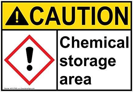 Ansi and GHS Caution Panneau en Aluminium pour Zone de Stockage de Produits Chimiques avec Texte en Anglais et Symbole Blanc