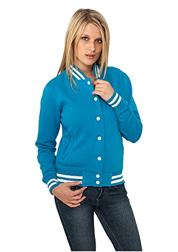 Urban Classics Damen Collegejacke Ladies College Sweatjacket, Farbe turquoise, Größe S