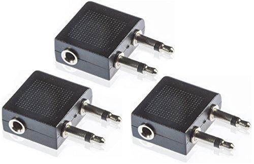 Poppstar 3X Audio Flugzeug Adapter (2X 3,5 mm Mono Buchse auf 3,5 mm Stereo Stecker), zum Anschluss von Stereo Kopfhörer im Flugzeug