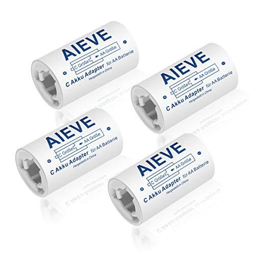 AIEVE 4 Stück AA auf C Größe Akku Adapter Batterieadapter AA zu Baby C Batterie Konverter