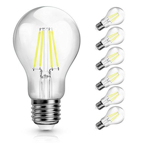 SHINE HAI Ampoule LED Filament E27 A60, 4W Equivalent à Ampoule Halogène /Incandescente 40W, Blanc Froid 6000K, 470lm, 360° Faisceau, IRC>80, Lot de 6