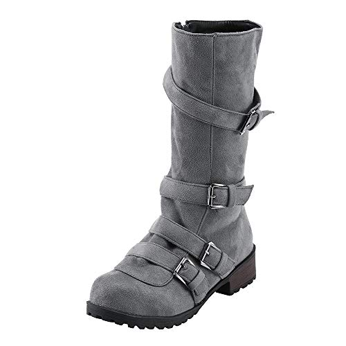 Winter Boots Damen,Mosstars Weihnachten Frauen Flache Schuhe Combat Reitstiefeletten Mode Lässig Schnalle Stiefel Plateauschuhe Stiefeletten Lederstiefel Halbschaft Stiefel