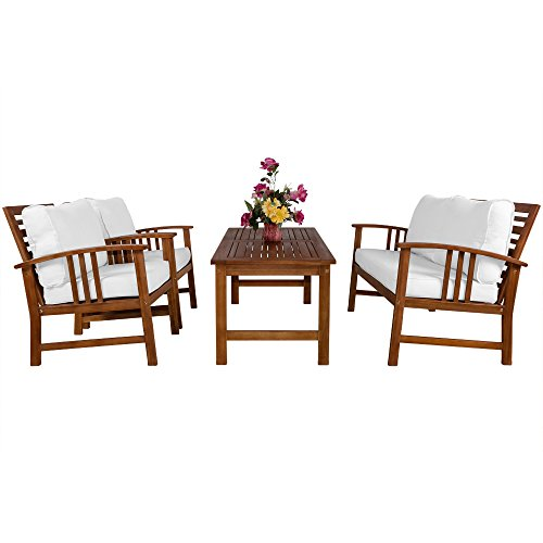 Deuba Wooden Garden Furniture Patio Bistro Set FSC Certified 4 Seater Acacia Hardwood