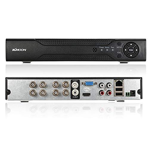 KKmoon 8CH Canales AHD DVR NVR Full 1080N/720P (HDMI P2P, Network Onvif,  Grabador de Video Digital, Soporta Plug y Play, Android/iOS APP, Detección