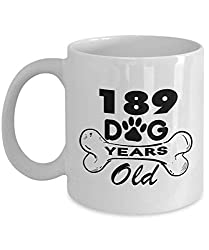 Mug Dog 11 Oz - 189 Dog Love Years Old for Dog Lovers - 27 Year Old Birthday Gifts Ideas for Wife - 27th Birthday Gifts for Girlfriend, Her, Women, Guys, Daughter, Sister for Birthday - Ceramic
