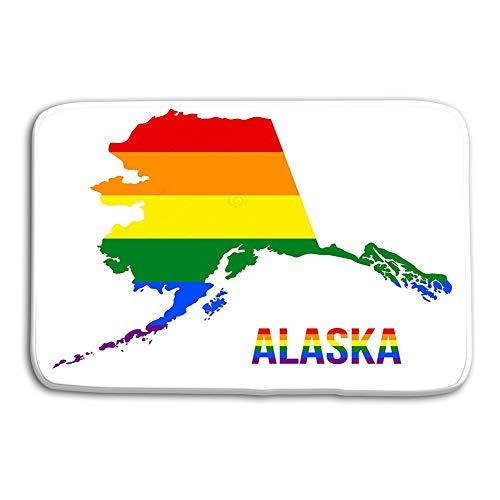 "Kitchen Floor Bath Entrance Door Mats Rug Alaska State map LGBT Rainbow Flag comprised six Stripes Alaska LGBT Text Flag comprised six Stripes Meaning to Each Non Slip Bathroom Mats 23.6""x 15.7"""