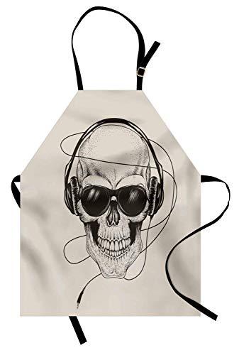 Musik-Schürze, skizzierte Illustration des grungy Retro Schädels mit Kopfhörer-Sonnenbrille, Unisexküchen-Latzschürze mit justierbarem Hals für das Kochen der Backen-Gartenarbeit, Holzkohle-Grau-Eiers