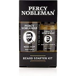 Percy Nobleman Kit de cuidado fácil de la barba-Estuche con aceite y champúlimpiador para la barba, compuestos de un 99% de ingredientes naturales