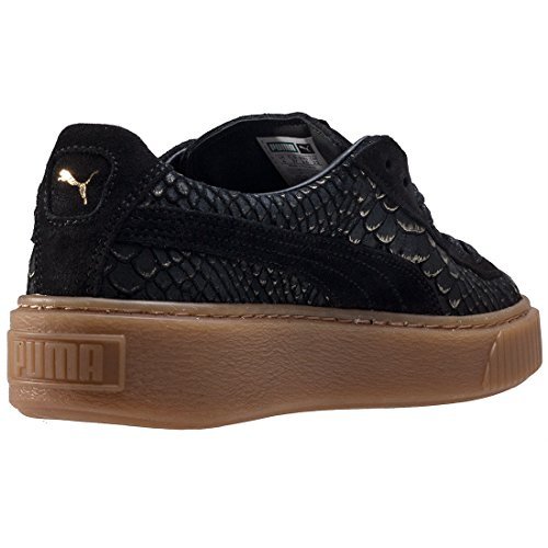 Puma Donna Natural Vachetta Basket Exotic Skin Platform Sneaker Noir