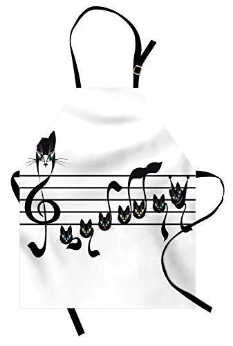 Musik Schürze, Notizen Kätzchen Kitty Cat Artwork Notation Tune Kinder Halloween Stilisierte Monochrom, Unisex-Küche Latzschürze mit verstellbarem Hals zum Kochen Backen Gartenarbeit, Schwarz ()