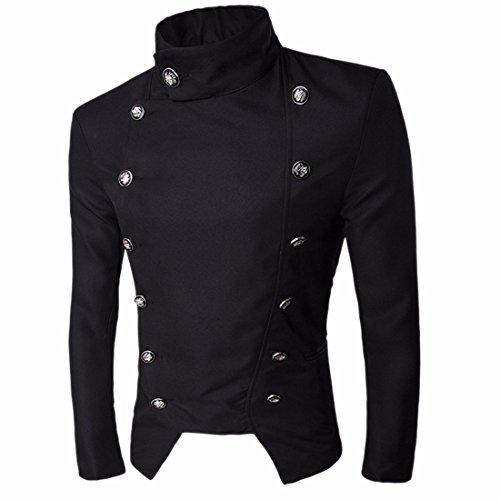 QIYUN.Z Herren Anzug Jacke Stand Kragen kurzen Mantel Blazer (Mantel Kragen Herren)