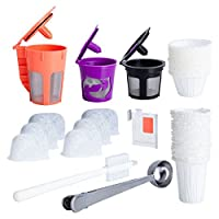 Reusable K Cups and Carafe for Keurig 2.0 Bundle with Water Filters, Disposable Filers and Coffee Accessories (8 items)