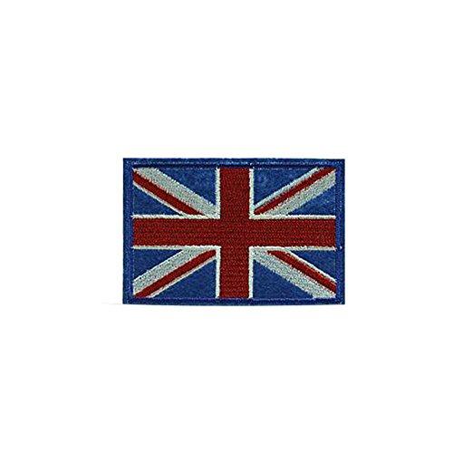 Maoran Patches Applikation Aufkleber zum Aufnähen oder Aufbügeln, Posted Banner Stickerei, T-Shirt, Rock, Jeans, Westen, Hüte, Taschen, britische Union England Flagge, blau/rot, 7.5CM*4.7CM -