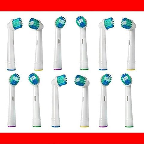 12 Stk. Aufsteckbürsten passend für --- ALLE --- Braun ORAL-B Zahnbürsten mit rundem Bürstenkopf (Elektrische Zahnbürsten Modelle mit oszillierenden Rundbürsten) z.B. kompatibel mit Oral B Triumph, Vitality, ProWhite, Sensitive + Clean, White + Clean, Professional Care, Precision Clean, SmartSeries, Black, Center, Oxyjet, Center, TriZone, Advance Power, Advance Power Kids, Stages Power, Precision Clean, Dual Clean, Pro Health, Plak Control, 3D Excel, Interclean IC2522, ID2021, ID2025, ID2025T, weitere kompatible OralB Typen 3711, 3725, 3728, 3731, 3738, 3744, 3745, 3756, 3757, 3709, 4729, 4730, 4731, 4733, 4736, 4739, 4740, 4712, 4713, 4716, 4721, 4725, 4726, 4727, 4728, D2010, D4010, D4510, D5000S, D5011,