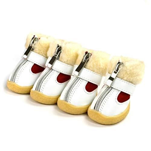 AMURAO Dicken Pelz Winter warme pet Schuhe rutschfeste Schneeschuhe pu wasserdichte Stiefeletten für kleine Hunde Teddy Chihuahua -