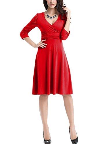 Brinny Damen Ausgestellter Schnitt Kleid Jersey Shirtkleid 1/2 Ärmel ...