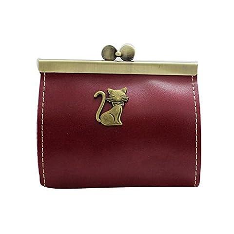 Pu Ran® Women Retro Clutch Hasp Wallet Purse Coin Bag Mini Handbag - Red