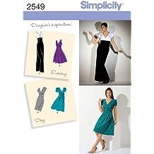 Simplicity 2549 R5 - Patrones de costura para vestidos de fiesta de mujer (tallas 42