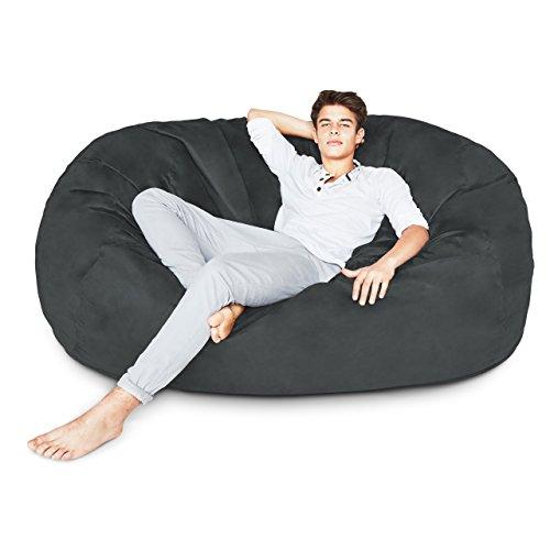 Lumaland Premium Riesen-Sitzsack 6 Foot XL 125 x 185 cm Bean Bag 920L Füllung 100% Polyester Bezug in Wildleder-Optik Sitzkissen für Kinder Jugendliche und Erwachsenein Schwarz -