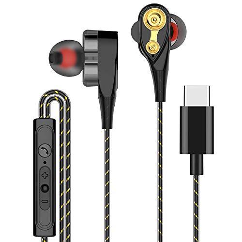 Yowablo In Ear-Kopfhörer Typ C Mit Mikrofon SuperBass Musik In-Ear-Stereo-Kopfhörer-Headset Kopfhörer-Ohrhörer ( Schwarz )
