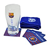 FC Barcelona Official Wordmark Mini Football Bar Set (Pint Glass, Towel & Beer Mats)