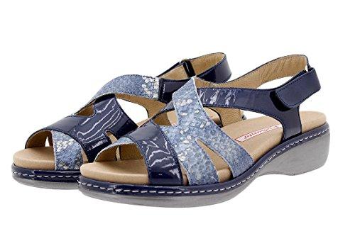 Sandalo In Pelle Da Donna Piesanto Comfort 1813 Sandalo Con Plantare Removibile Comodo Largo Marino