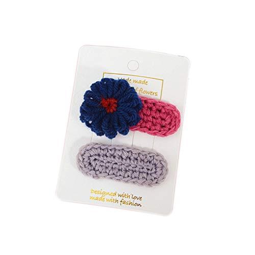 Arichtop 2ST / Set Kind-Mädchen-Woven-Blumen-Haar-Baby-Kind-Haar-Bang Pin Klemme Klaue Kopfschmuck Clip