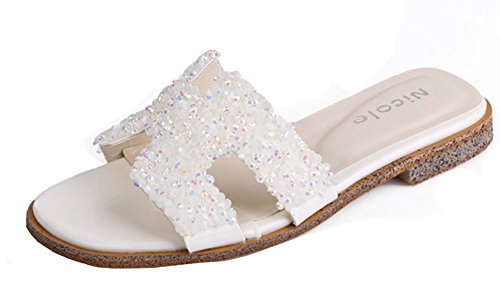 Aisun Damen Modern H-Form Pailletten Glitzer Niederiger Blockabsatz Pantoffel Weiß
