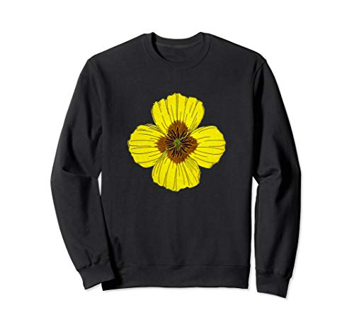 California Poppy Flower Botanical Wildflower  Sweatshirt -
