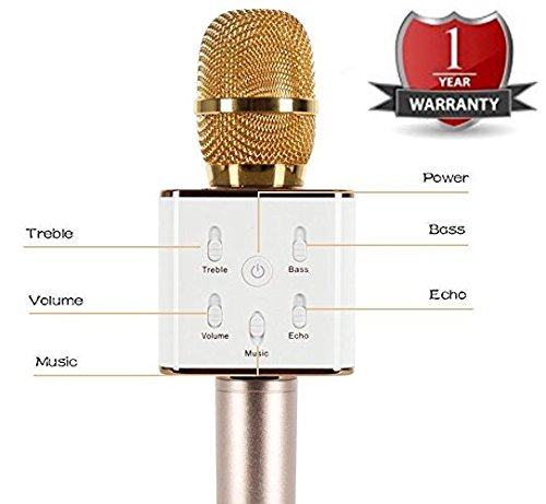 Q7 Wireless Handheld Karaoke Microphone with Condenser Mic and Bluetooth Speaker for iPhone/iPad/iPod and All Android Smartphones