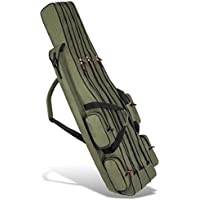 Funda para caña de pescar Rod Case–Caja de Pesca con 3compartimentos, diferentes longitudes a elegir), color verde oliva, tamaño 150 cm