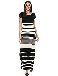 Taurus Women's Cotton Lycra Black Monochromatic Maxi Dress