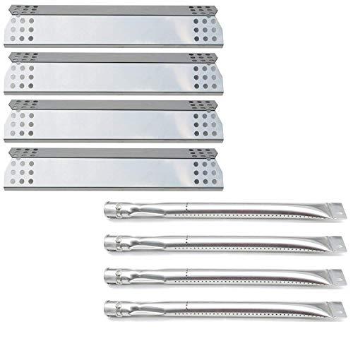 Bar. b.q.s Gas Grill Teile (4er Pack, Edelstahl Brenner + 4er Pack Edelstahl Hitzeteller) Ersatz für Sunbeam Nexgrill Grill Master 720–0697Grill Modelle -