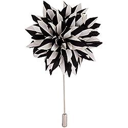 Knighthood Broche para Solapa, diseño de Flores, Hecho a Mano, Color Negro