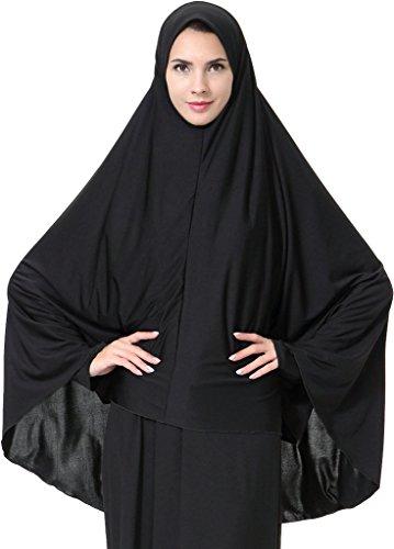 Ababalaya Damen Elegantes Modest Muslimischen Islamische Kopftuch Hijab Maxi Schal GroßÜbergröße Einfarbig ,Schwarz,M