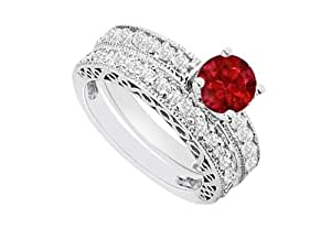 14K White Gold Ruby and Diamond Engagement Ring with Wedding Band Set 1.50 CT TGW