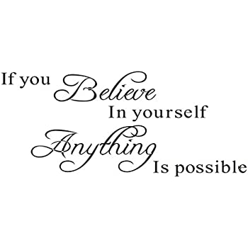 """Stonges Inspirational quotes wall stickers art decor for girls bedroom """"If you believe in yourself anything is possible"""" Vinyl saying decals for home dorm mural"""