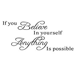 """Inspirational quotes wall stickers art decor for girls bedroom """"If you believe in yourself anything is possible"""" Vinyl saying decals for home dorm mural"""