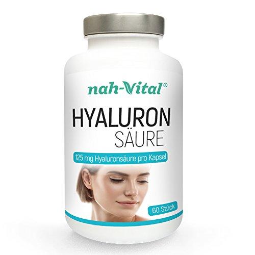 nah-vital Hyaluronsäure | 60 Kapseln mit je 125 mg Hyaluronsäure | vegan, kristallzuckerfrei, laktosefrei | geprüfte deutsche Premiumqualität