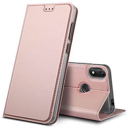 GeeMai Wiko View Max Hülle, Premium Flip Case Tasche Cover Hüllen mit Magnetverschluss [Standfunktion] Schutzhülle Handyhülle für Wiko View Max Smartphone (Rosegold)