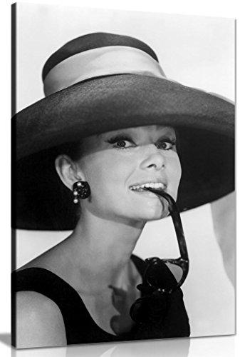 Leinwanddruck - Audrey Hepburn mit Sonnenbrille, Schwarz & Weiß, schwarz / weiß, A1 76x51 cm (30x20in)