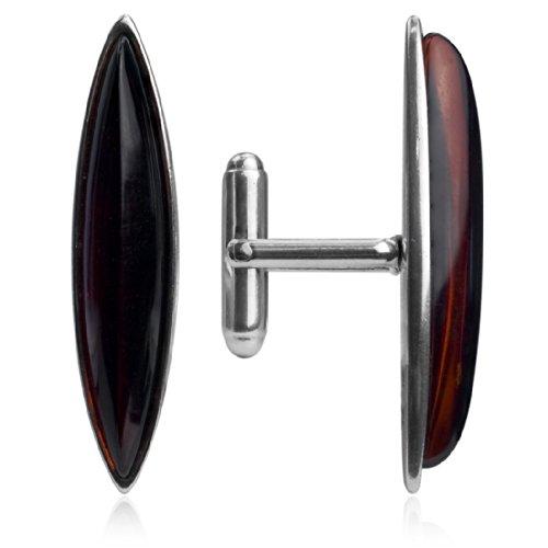 Ambre rouge foncé Argent sterling Marquise en forme de boutons de manchette