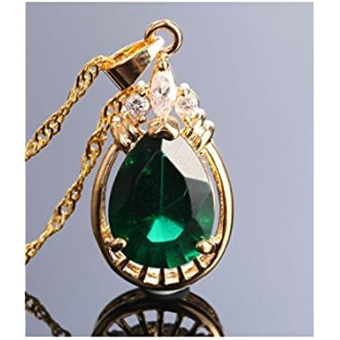 Oro 18K Placcato Ovale Smeraldo zirconi ciondolo collana verde