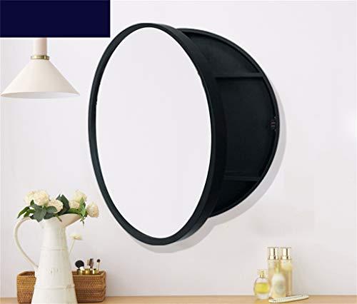 Schwarze Badezimmer-Wandschränke mit runden verspiegelten Türen 3 Ablagefächer Medizinschrank aus weichem Holz zur Wandmontage 500 / 600mm,black,50cm (Eitelkeit Spiegel Badezimmer)