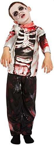 ZOMBIE BOY WALKING DEAD HALLOWEEN FANCY DRESS COSTUME OUTIFT SCARY BLOOD - AGE 7-9 - V00260M