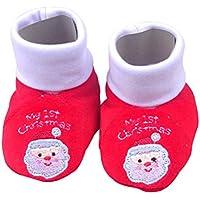 Toyvian Zapatos de algodón navideños de bebé Botas cálidas de Invierno Botas Infantiles Bordadas para bebés 0-12 Meses Estilo C (Rojo)